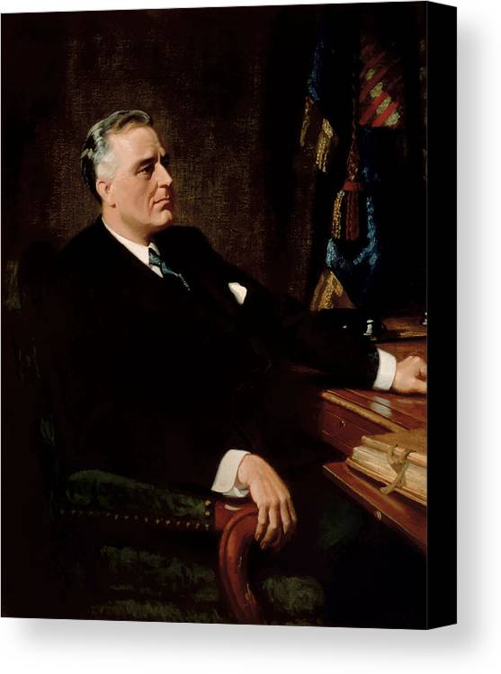 Franklin Roosevelt Canvas Print featuring the painting Fdr Official Portrait by War Is Hell Store