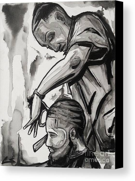 Barber Canvas Print featuring the painting Finishing Touches by The Styles Gallery