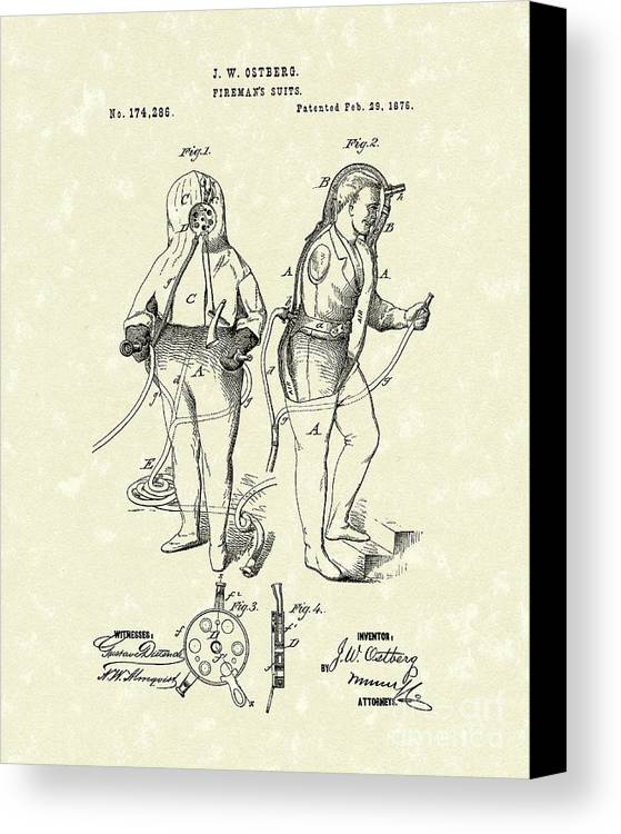 Ostberg Canvas Print featuring the drawing Fireman's Suits 1876 Patent Art by Prior Art Design