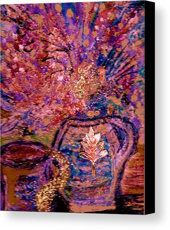 Floral Canvas Print featuring the painting Floral With Gold Leaf On Vase by Anne-Elizabeth Whiteway