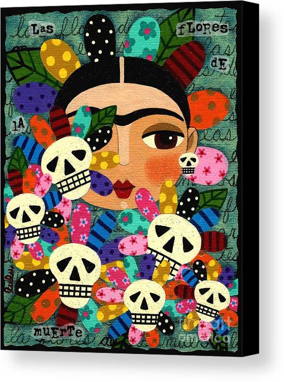 frida kahlo day of the dead flowers canvas print canvas art by
