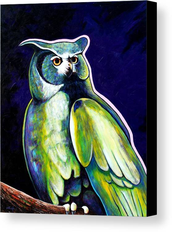 Owl Canvas Print featuring the painting From The Shadows by Joe Triano