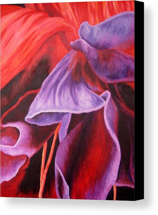 Floral Canvas Print featuring the painting Fuschia Folds by Darla Brock