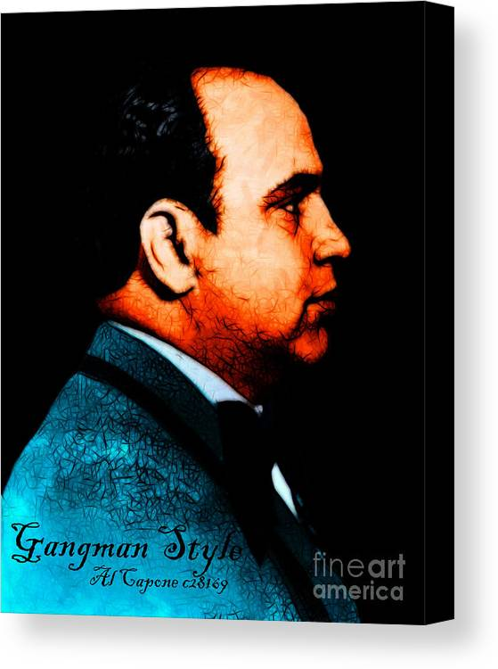 Gangnam Canvas Print featuring the photograph Gangman Style - Al Capone C28169 - Black - Painterly by Wingsdomain Art and Photography