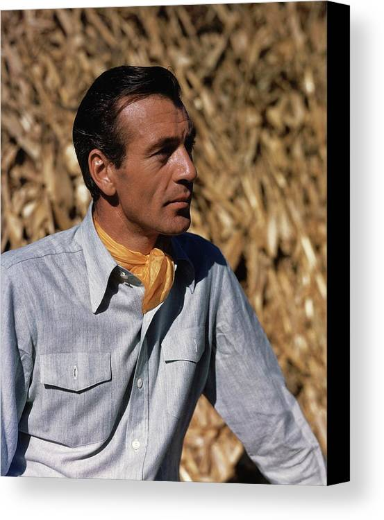 Film Canvas Print featuring the photograph Gary Cooper In Profile by Alexander Paal