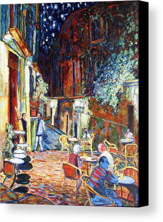Impressionsist Spain Cafe Night Stars Van Gogh Canvas Print featuring the painting Gerona by Rob White