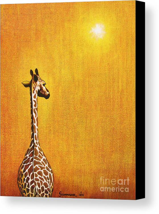 Giraffe Canvas Print featuring the painting Giraffe Looking Back by Jerome Stumphauzer