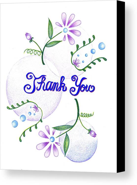 Flower Art Canvas Print featuring the drawing Gratitude by Keiko Katsuta