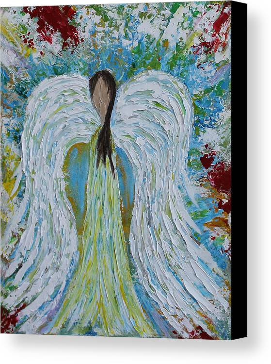 Acrylic Canvas Print featuring the painting Guardian Angel V by Molly Roberts