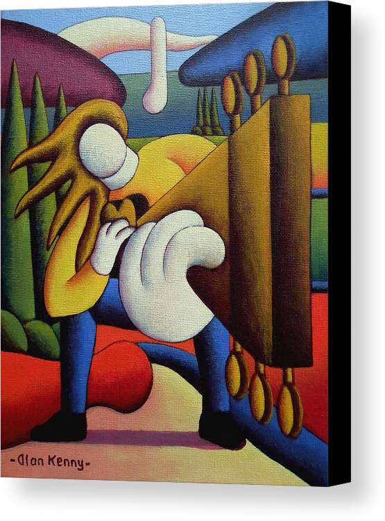 Rock Canvas Print featuring the painting Guitar Man by Alan Kenny
