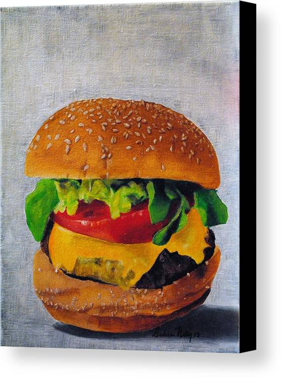 Lettuce Canvas Print featuring the painting Hamburger by Andrea Nally