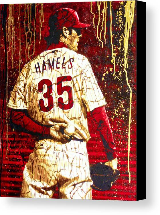 Cole Hamels Canvas Print featuring the painting Hamels - The Executioner by Bobby Zeik