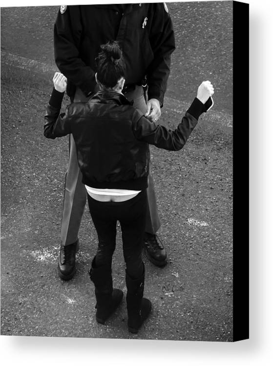 Police Canvas Print featuring the photograph Hands Up by Bob Orsillo