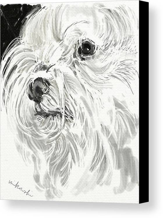 Maltese Canvas Print featuring the jewelry Harley The Maltese by Linda Minkowski