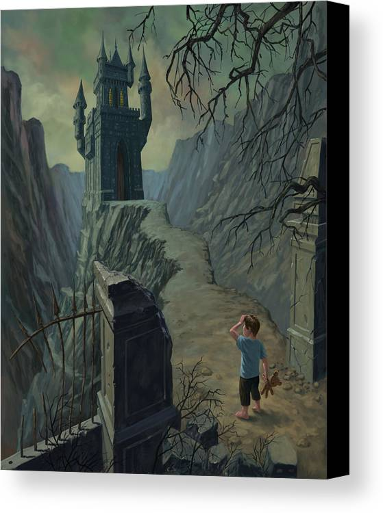 Castle Canvas Print featuring the painting Haunted Castle Nightmare by Martin Davey