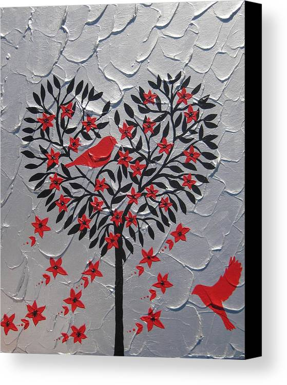 Romantic Canvas Print featuring the painting Hearts by Cathy Jacobs