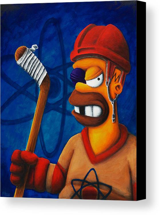 Simpsons Canvas Print featuring the painting Hockey Homer by Marlon Huynh