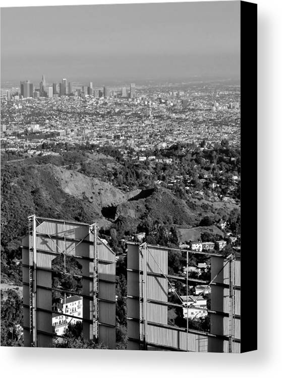 Hollywood Canvas Print featuring the photograph Hollywood And Los Angeles City Skyline by David Lobos