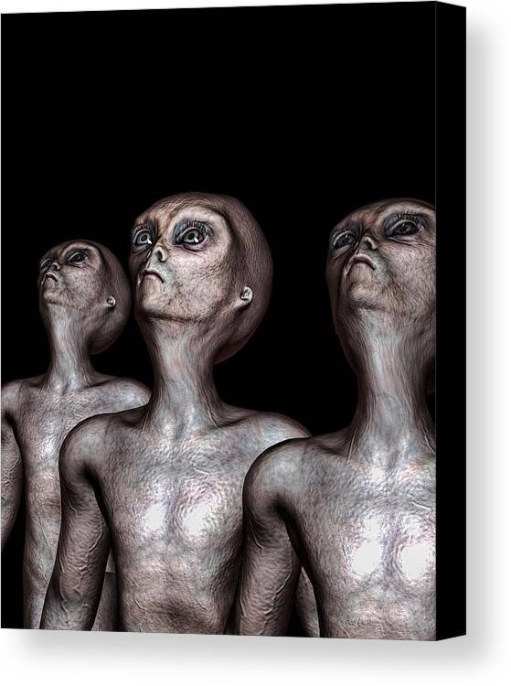 Alien Abduction Canvas Print featuring the digital art If One Was Three by Bob Orsillo