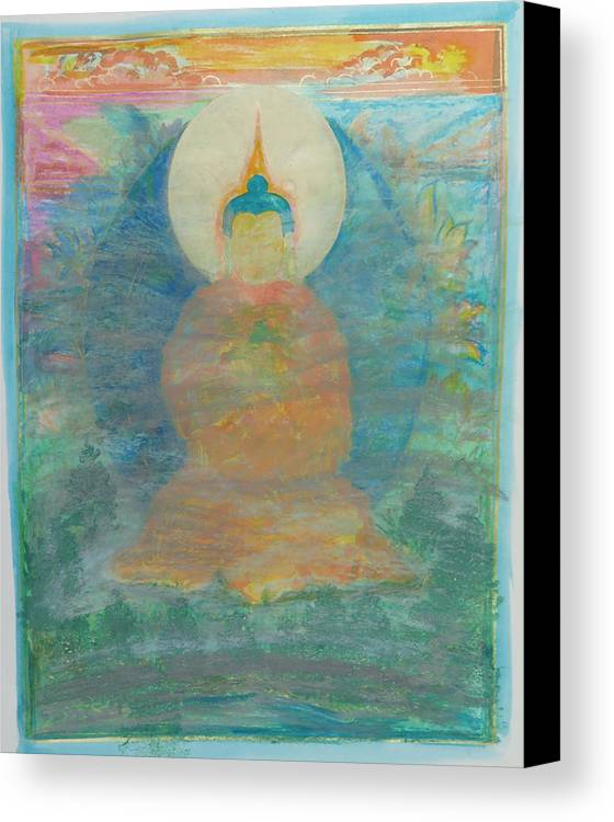 Canvas Print featuring the painting In A Fog Buddha by Juliet Seaver