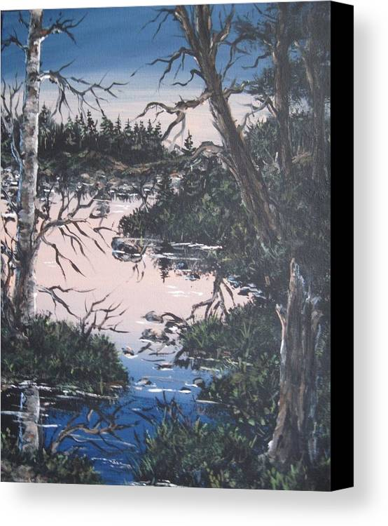 Landscape Canvas Print featuring the painting In The Gloaming 2 by Megan Walsh