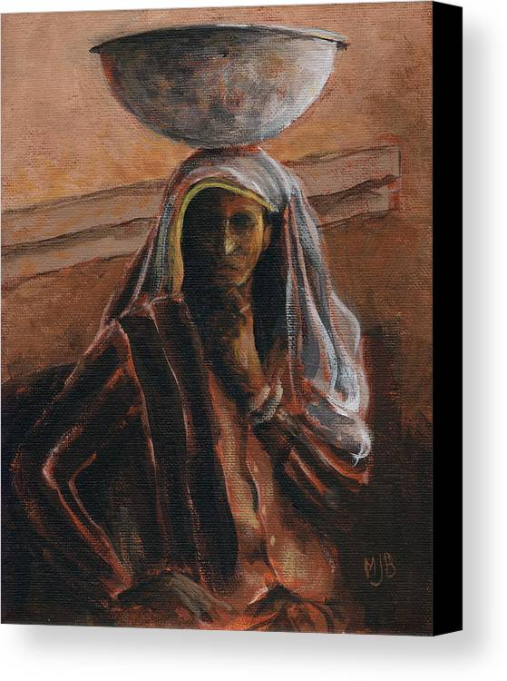 Canvas Print featuring the painting Indian Lady With Bowl by Michael Beckett
