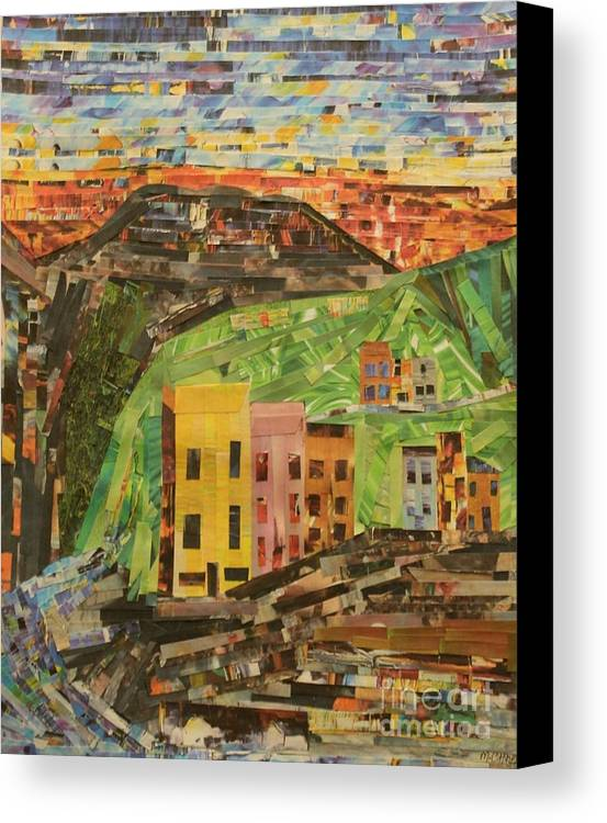 Italian Village Canvas Print featuring the mixed media Italian Village by Mary Chris Hines