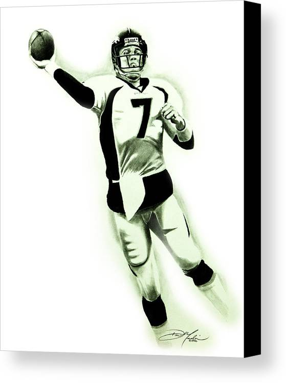 John Elway Canvas Print featuring the drawing John Elway by Don Medina