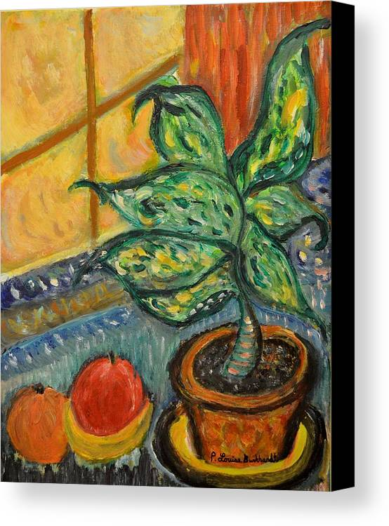Plant Canvas Print featuring the painting Kitchen Company by Louise Burkhardt