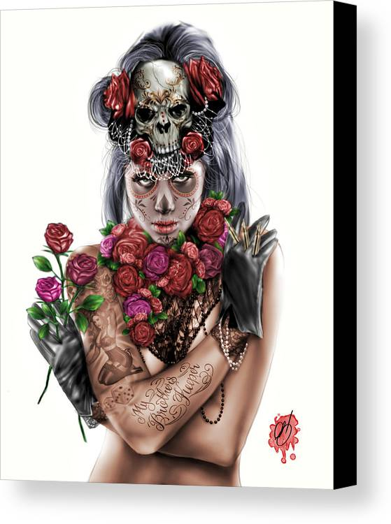 Pete Canvas Print featuring the painting La Calavera Catrina by Pete Tapang