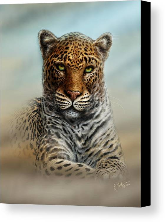 Canvas Print featuring the painting Leopard In The Mist by Darryl Rockfield