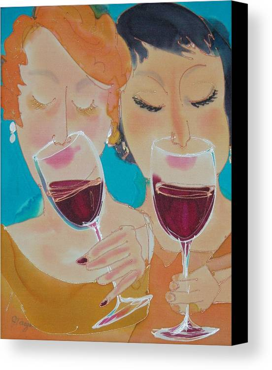 Wine Canvas Print featuring the painting Let's Get Together by Jill Targer