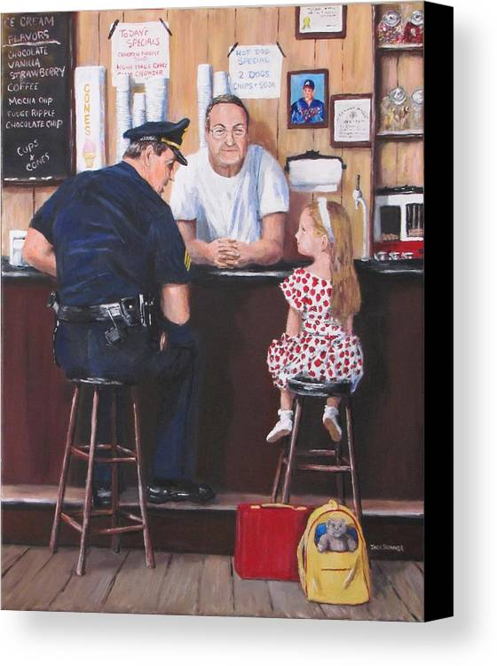 Police Canvas Print featuring the painting Lost And Found by Jack Skinner