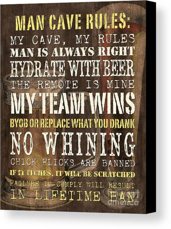 Man Canvas Print featuring the painting Man Cave Rules 2 by Debbie DeWitt