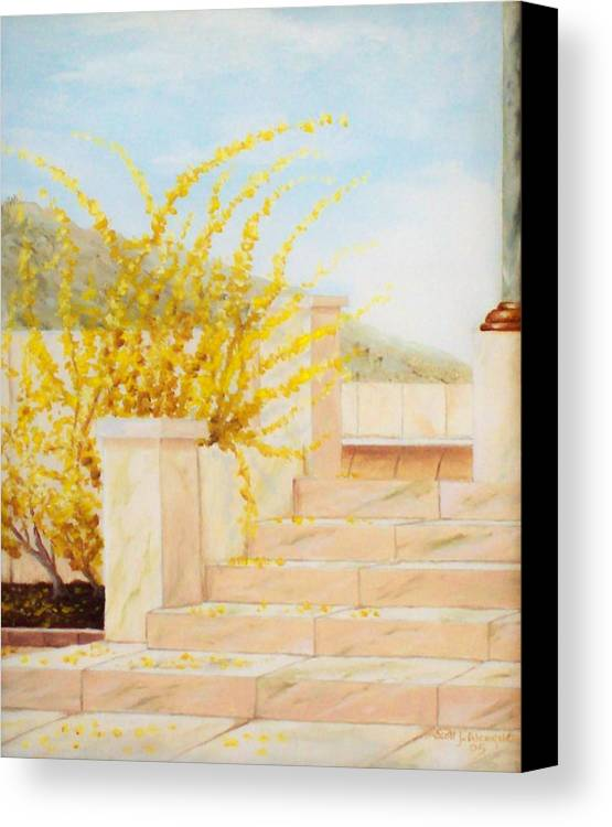 Landscape Canvas Print featuring the painting Marble Steps by Scott Alcorn
