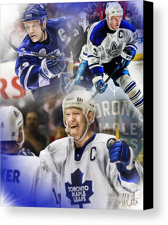 Mats Sundin Canvas Print featuring the painting Mats Sundin by Mike Oulton