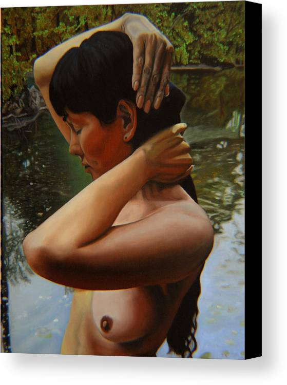 Bather Canvas Print featuring the painting May Morning Arkansas River 3 by Thu Nguyen