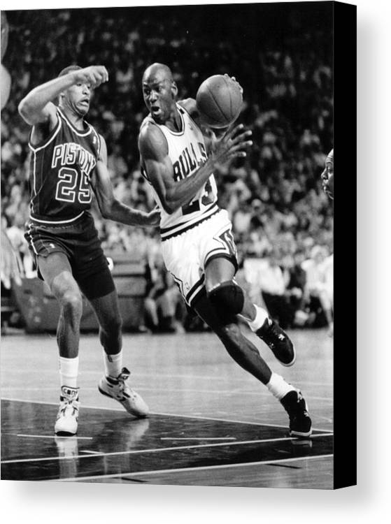 Classic Canvas Print featuring the photograph Michael Jordan Driving To The Basket by Retro Images Archive