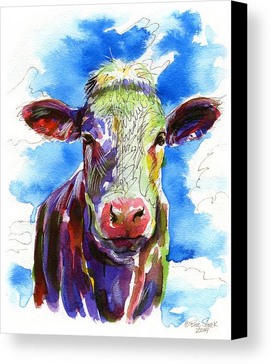 Funky Canvas Print featuring the painting Moooo by Bill Stork