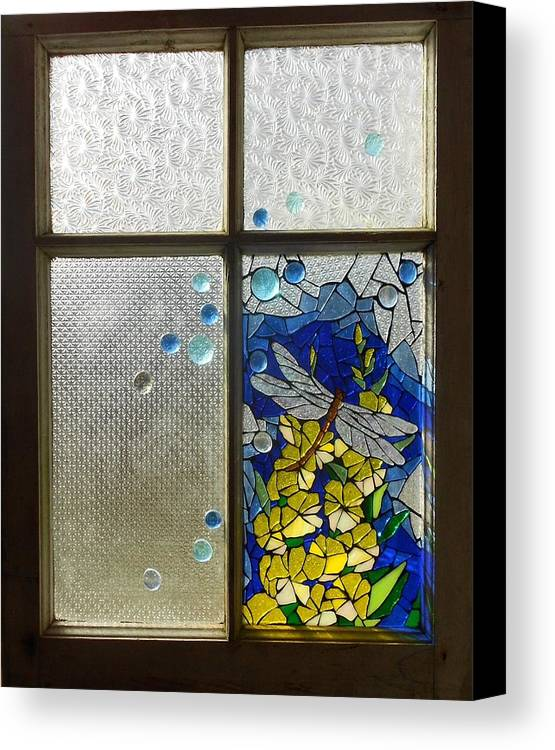Mosaic Canvas Print featuring the glass art Mosaic Stained Glass - Dragonfly In The Window by Catherine Van Der Woerd