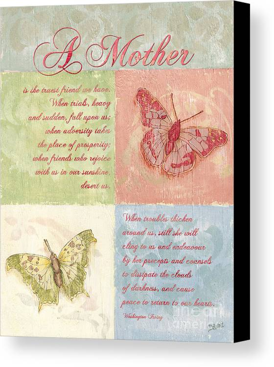 Butterfly Canvas Print featuring the painting Mother's Day Butterfly Card by Debbie DeWitt