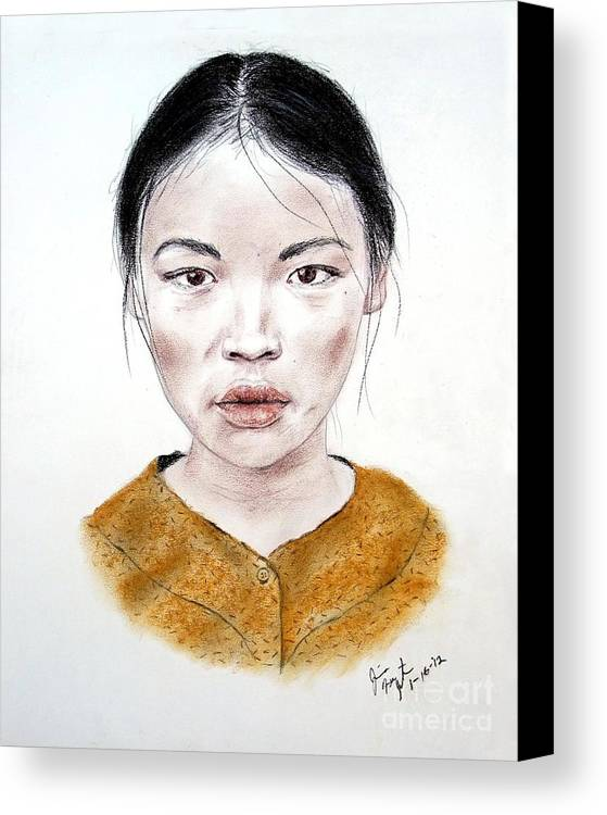 Girl Canvas Print featuring the drawing My Kuiama A Young Vietnamese Girl by Jim Fitzpatrick
