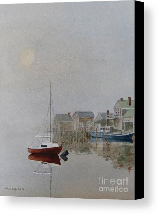 Dock Canvas Print featuring the painting Nantucket Fog by Karol Wyckoff
