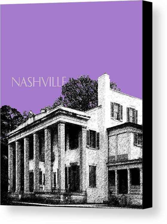 Architecture Canvas Print featuring the digital art Nashville Skyline Belle Meade Plantation - Violet by DB Artist