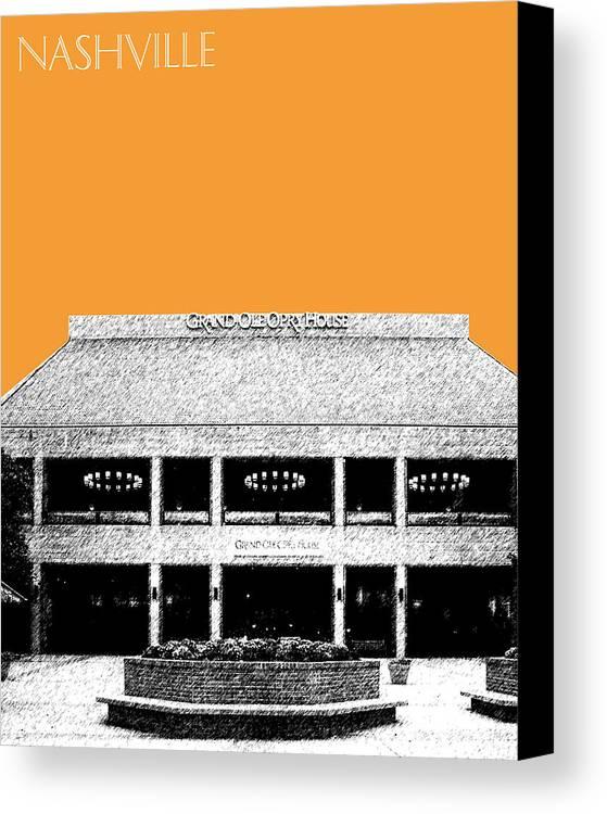 Architecture Canvas Print featuring the digital art Nashville Skyline Grand Ole Opry - Orange by DB Artist