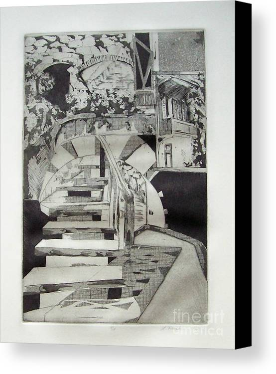 Etching Canvas Print featuring the drawing Nightdream by Linda Frank