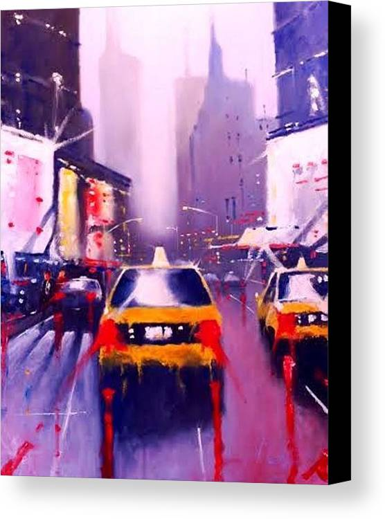 Oil On Canvas - 2nd Of New York Oil Paintings Canvas Print featuring the painting Ny Cabs2 by Tony Gittins