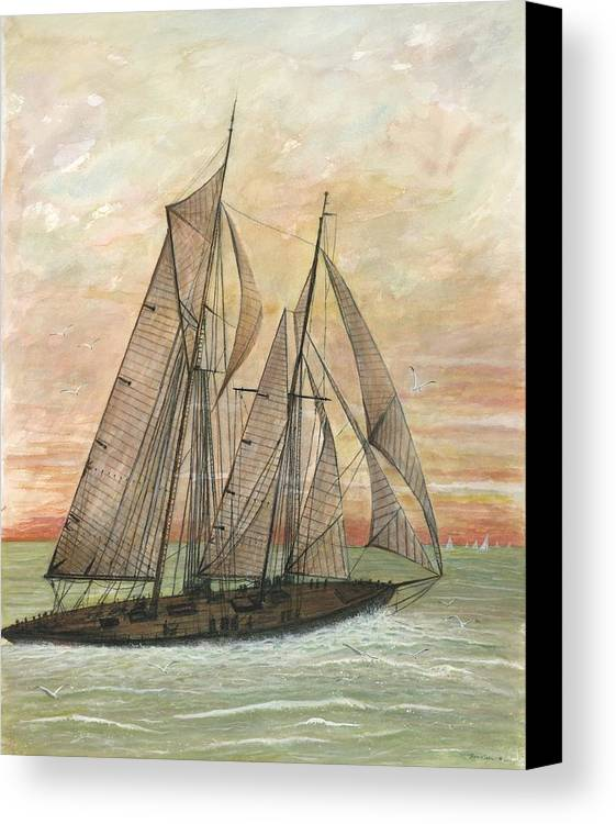 Sailboat; Ocean; Sunset Canvas Print featuring the painting Out To Sea by Ben Kiger