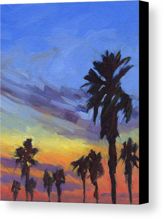 Sunset Canvas Print featuring the painting Pacific Sunset 2 by Konnie Kim