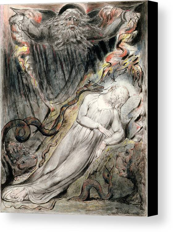 Dreaming Canvas Print featuring the drawing Pd.20-1950 Christs Troubled Sleep by William Blake